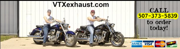 vtxexhaust.com Modified factory OEM exhaust systems for the Honda VTX 1800 & 1300